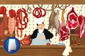 meats in a butcher shop - with Alabama icon