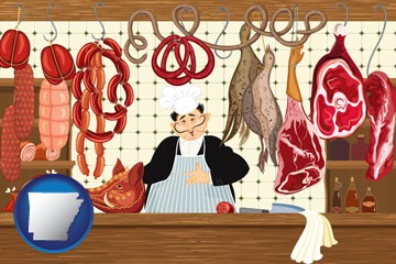 meats in a butcher shop - with Arkansas icon