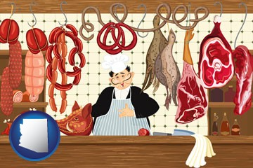 meats in a butcher shop - with Arizona icon