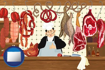 meats in a butcher shop - with Colorado icon