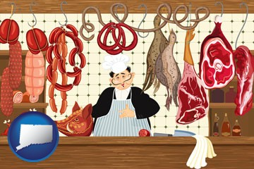 meats in a butcher shop - with Connecticut icon