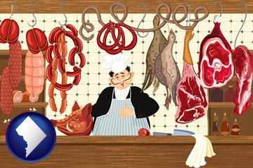 meats in a butcher shop - with Washington, DC icon
