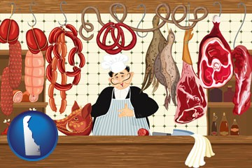 meats in a butcher shop - with Delaware icon