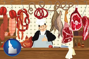 meats in a butcher shop - with Idaho icon