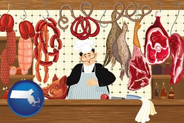 meats in a butcher shop - with Massachusetts icon