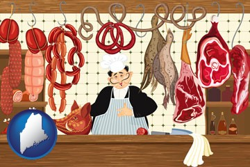 meats in a butcher shop - with Maine icon