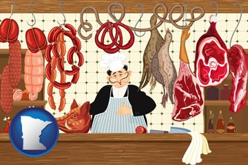 meats in a butcher shop - with Minnesota icon