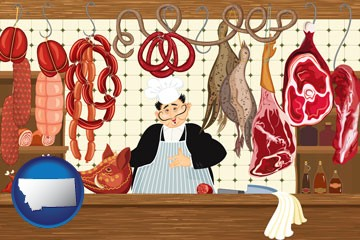meats in a butcher shop - with Montana icon