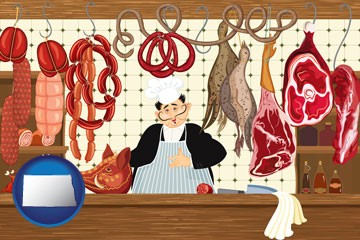 meats in a butcher shop - with North Dakota icon