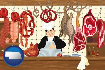 meats in a butcher shop - with Nebraska icon