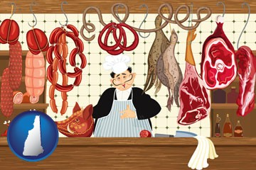 meats in a butcher shop - with New Hampshire icon