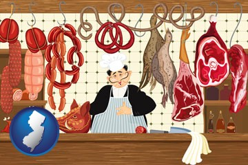 meats in a butcher shop - with New Jersey icon