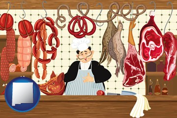 meats in a butcher shop - with New Mexico icon