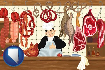 meats in a butcher shop - with Nevada icon