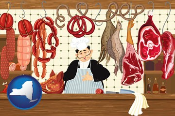 meats in a butcher shop - with New York icon