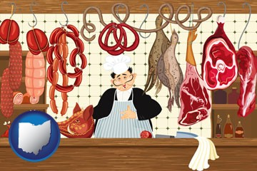 meats in a butcher shop - with Ohio icon