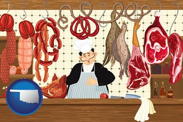 meats in a butcher shop - with Oklahoma icon