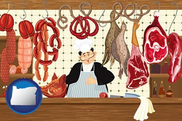 meats in a butcher shop - with Oregon icon