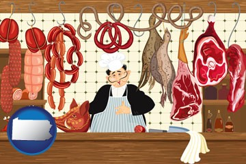 meats in a butcher shop - with Pennsylvania icon