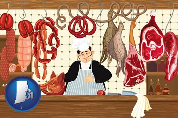 meats in a butcher shop - with Rhode Island icon