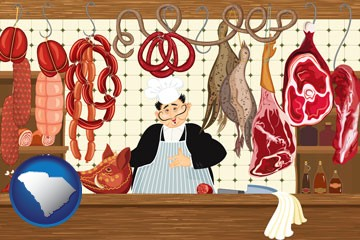meats in a butcher shop - with South Carolina icon
