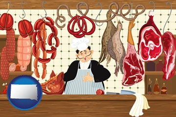 meats in a butcher shop - with South Dakota icon