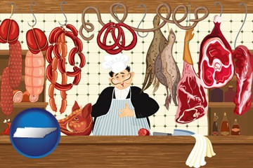 meats in a butcher shop - with Tennessee icon