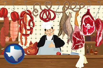 meats in a butcher shop - with Texas icon