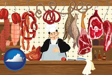 meats in a butcher shop - with Virginia icon