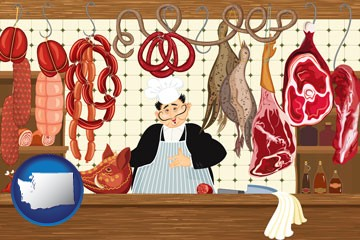 meats in a butcher shop - with Washington icon