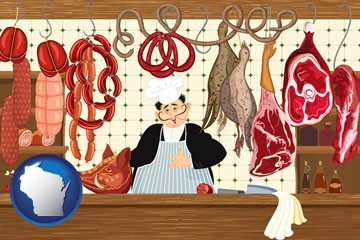 meats in a butcher shop - with Wisconsin icon