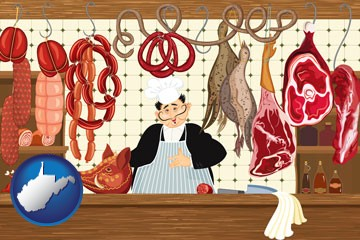 meats in a butcher shop - with West Virginia icon